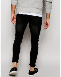 ASOS Gray Extreme Super Skinny Jeans In Washed Black for men