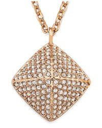 Swarovski - Metallic Rose Gold-Tone Pvd Crystal Stud Pendant Necklace - Lyst