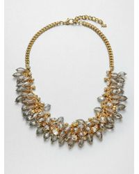 ABS By Allen Schwartz | Metallic Beaded Front Chain Necklace | Lyst