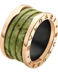 BVLGARI | Metallic B.zero1 Four-band 18ct Pink-gold And Green Marble Ring - For Women | Lyst