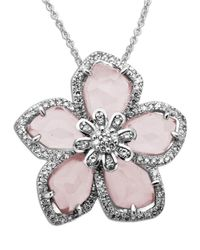 Lord & Taylor | Metallic Rose Quartz And Diamond-accented Necklace In Sterling Silver | Lyst