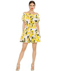 Dolce & Gabbana Yellow Lemon Printed Cotton Poplin Dress