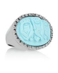 Amedeo Blue Rhodium-Plated, Faux Turquoise And Topaz Monkey Cameo Ring
