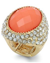 INC International Concepts | Pink Gold-tone Coral-colored Stone Pavé Stretch Ring | Lyst