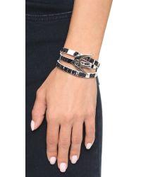 McQ Swallow Triple Wrap Bracelet - Black/white