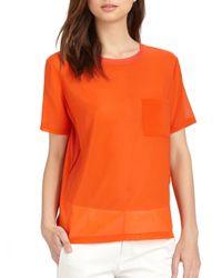Vince Orange Silk Panel T-shirt