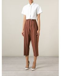 Stella Jean - Brown Striped Cropped Trousers - Lyst