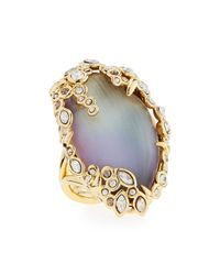 Alexis Bittar Metallic Crystal Lace Lucite Cocktail Ring