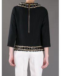 Moschino Black Embellished Zipup Blouse
