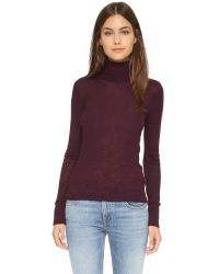 T By Alexander Wang | Purple Wooly Ribbed Fitted Turtleneck | Lyst