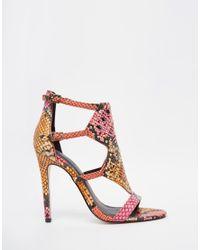 ASOS - Pink Hovercraft Caged Heeled Sandals - Lyst
