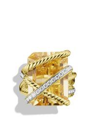 David Yurman Yellow Cable Wrap Ring With Champagne Citrine & Diamonds In Gold