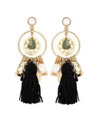 Oscar de la Renta - Black Embellished Earrings - Lyst