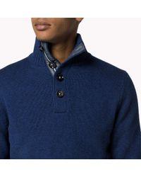 Tommy Hilfiger | Blue Wool Cotton Blend Mock Neck Sweater for Men | Lyst