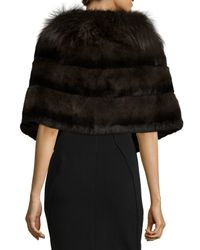 Gorski - Green Rabbit Fur Shawl W/fox Fur Trim - Lyst
