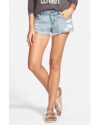 Volcom - Blue 'yae' Cutoff Denim Shorts - Lyst