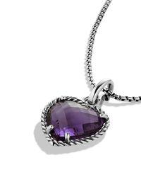David Yurman - Metallic Cable Heart Pendant With Amethyst - Lyst