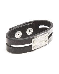 DIESEL | Afibo Black and Grey Leather Bracelet for Men | Lyst