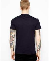 Fred Perry Blue Tshirt with Gingham Shoulders for men