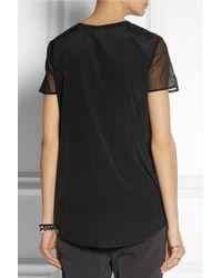 DKNY - Black Silk Georgette Top - Lyst