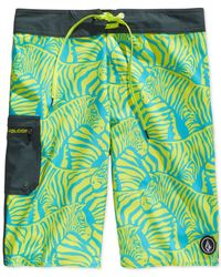 Volcom | Green Zeebrah Board Shorts for Men | Lyst