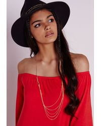 Missguided - Metallic Multi Chain Longline Necklace - Lyst