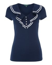 Lauren by Ralph Lauren Blue Sailor Top with Ruffle Front