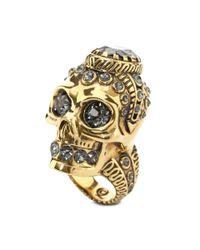 Alexander McQueen Orange Victorian Jewelled Skull Ring