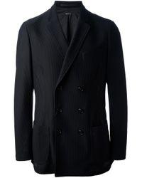 Giorgio Armani | Black Double Breasted Piqué Blazer for Men | Lyst
