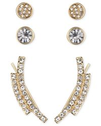 Nine West | Metallic Gold-tone Pavé Crystal Ear Crawler And Stud Earring Set | Lyst
