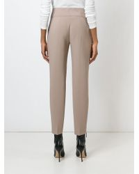 Agnona | Natural Cropped Slim Trousers | Lyst
