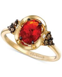 Le Vian | Red Chocolatier Fire Opal (5/8 Ct. T.w.) And Diamond (1/5 Ct. T.w.) Ring In 14k Gold | Lyst