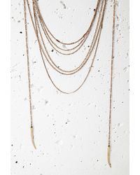 Forever 21 Metallic Tooth Pendant Layered Necklace