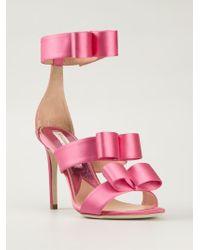 Vivienne Westwood Pink Satin Bow Detail Sandals