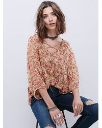 Free People | Metallic Fp One Womens Fp One Maya Lace Top | Lyst