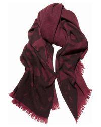 McQ Purple Swallow-print Wool-blend Scarf
