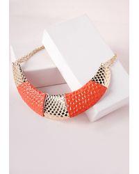 Missguided - Colour Block Bib Necklace Orange - Lyst