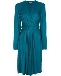 Issa Blue Ruched Vneck Dress