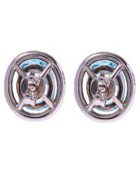 Kojis | Blue White Gold Aquamarine Halo Diamonds Stud Earrings | Lyst