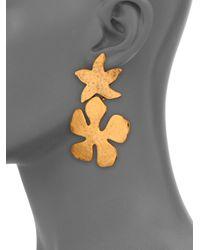 Oscar de la Renta | Metallic Mixed Shape Clip-on Drop Earrings | Lyst