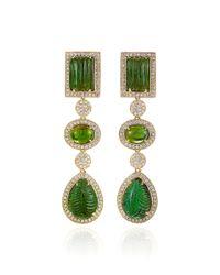 Dana Rebecca - Green Tourmaline and Diamonds Earrings in Yellow Gold - Lyst