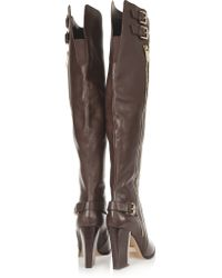 Michael Kors Brown Jayla Buckled Leather Over-the-knee Boots