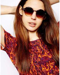 ASOS Brown Half Frame Classic Round Sunglasses