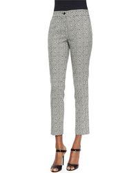 Etro - Black Pebble-print Slim Capri Pants - Lyst