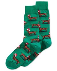 Hot Sox | Green Holiday Dog Crew Socks for Men | Lyst