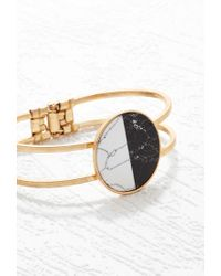 Forever 21 | Black Two-tone Faux Stone Cuff | Lyst