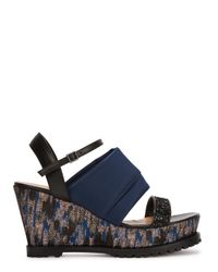 Markus Lupfer - Gray Brocade-Panelled Wedge Sandals - Lyst