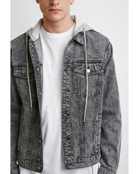 Forever 21 - Gray Hooded Denim Jacket for Men - Lyst