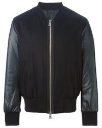 AMI - Black Panelled Bomber Jacket for Men - Lyst