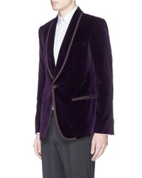 Dolce & Gabbana Purple Shawl Lapel Velvet Tuxedo Blazer for men